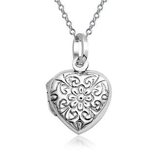 Bling Jewelry Flower Leaf Heart Shaped Locket Sterling Silver Pendant