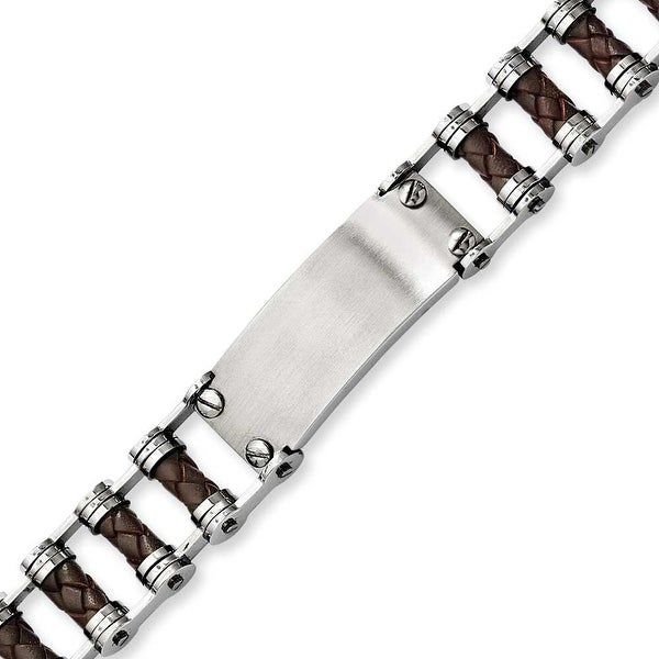 Stainless Steel Brown Leather with ID plate 9in Bracelet