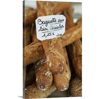 Premium Thick-Wrap Canvas entitled French bread at a market, France