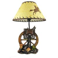 Western Saddle Table Lamp W/ Cowboy Print Shade