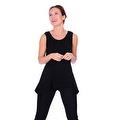 Simply Ravishing Women's Solid Round Neck Sleeveless High Low Asymmetrical Hem Tunic Top - Thumbnail 3