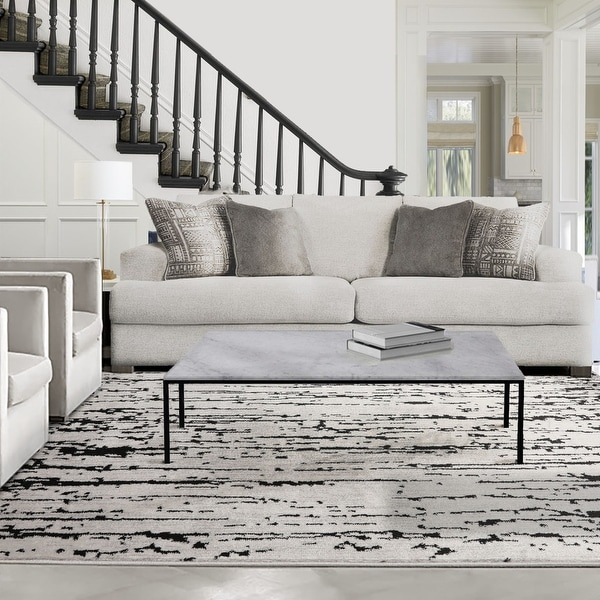 LoomBloom Persian Polypropylene Lisette Modern & Contemporary Oriental Area Rug Gray, Black Color. Opens flyout.