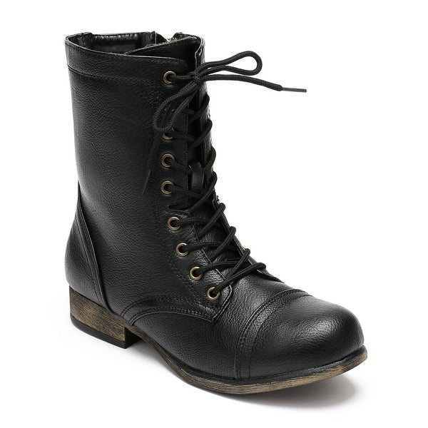 Bamboo Women's Surprise-13 Combat Boots Military Cuff Down Design