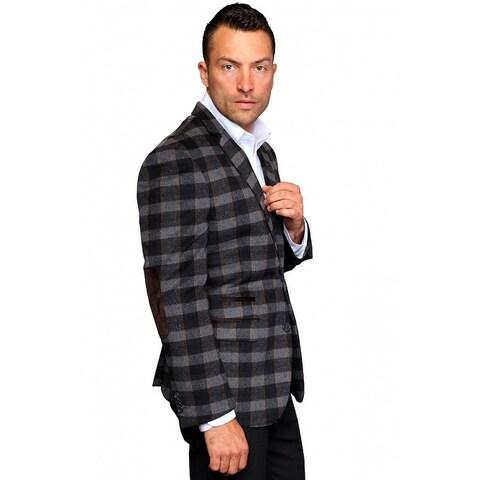 MZW-517 BROWN Men's Manzini Fancy Plaid wool sport coat with solid brown velvet trim on the elbow patch.