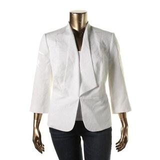 Kasper Womens Plus Long Sleeves Textured Blazer