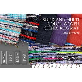 Eco-Friendly Solid Color Woven Chindi Mat Area Rug in 5 colors - Kitchen, Bathroom, Bedroom & Entry Way