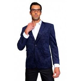 MZV-200 NAVY Men's Manzini Fancy Paisley design Velvet, sport coat