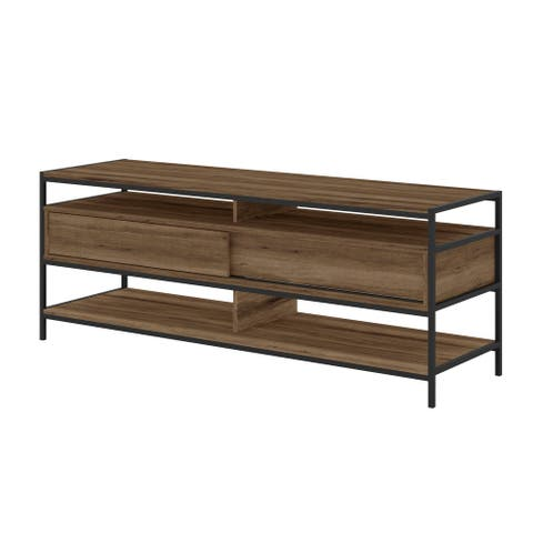 58 Inch Wood and Metal Entertainmnet TV Stand with 2 Drawers, Brown and Black