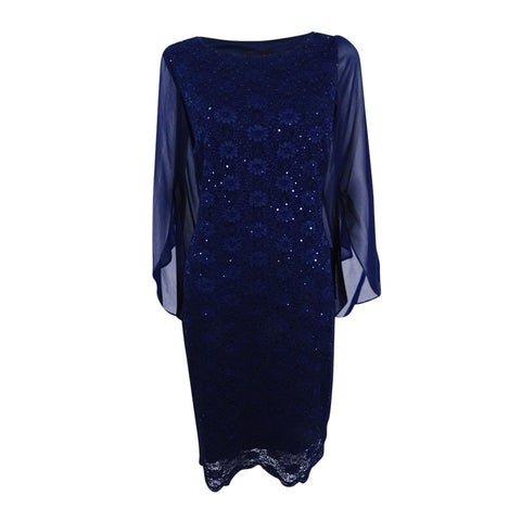 Connected Women's Illusion Angel-Sleeve Lace Sheath Dress