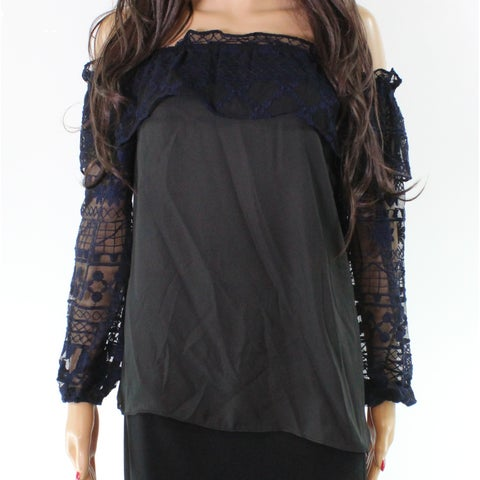 Parker Black Colorblocked Mesh Floral Ruffled Top Blouse