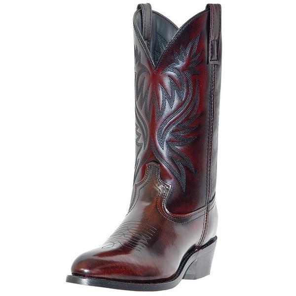 Laredo Western Boots Mens London Round Toe Cowboy Black Cherry