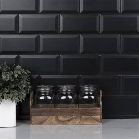 SomerTile 3 x 6-Inch Crown Heights Beveled Matte Black Ceramic Wall Tile