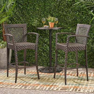 Farley Outdoor Wicker Barstool (Set of 2) by Christopher Knight Home