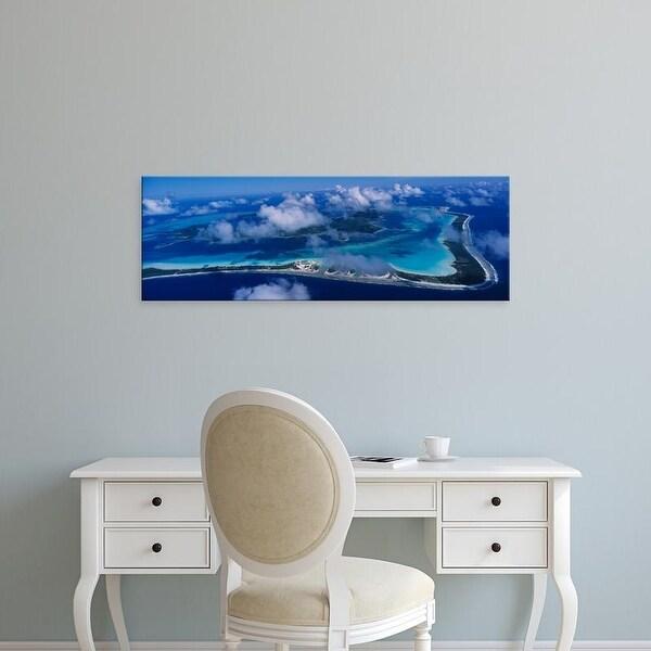 Easy Art Prints Panoramic Images's 'Aerial View Of An Island, Bora Bora, French Polynesia' Premium Canvas Art