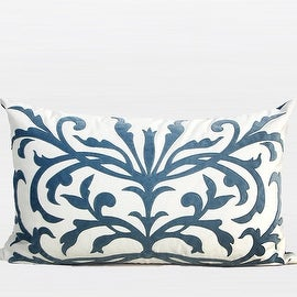 "G Home Collection Luxury Sky Blue European Pattern Embroidered Pillow 14""X22"""