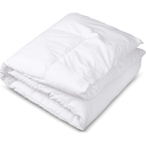 CIRCLESHOME Cotton Toddler Comforter for Crib & Bed, Hypoallergenic and Breathable Baby Quilt Blanket (37x52) White