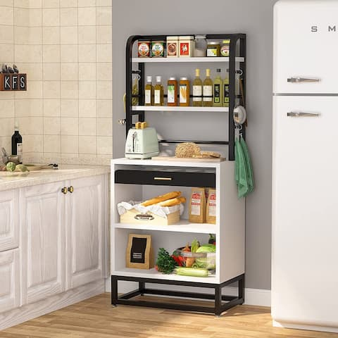 6-Tier Kitchen Bakers Rack with Drawer and Hutch, Utility Storage Shelf Microwave Oven Stand with Drawer 8 S-Hook