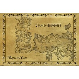 ''Game of Thrones: Antique Map of Westeros & Essos'' by Anon Movie & TV Posters Art Print (24 x 36 in.)
