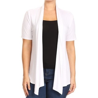 Women Plus Size Short Sleeve Jacket Casual Cover Up White