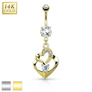 14Kt Gold Double Heart Dangle with CZ Belly Button Navel Ring - 14GA (Sold Ind.)