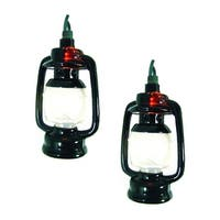 Set of 10 Camp Lantern Novelty Christmas Lights - Green Wire - black