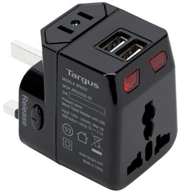 Targus World Travel Power Adapter With Dual Usb Charging Ports, For Laptops, Black (Apk032us)