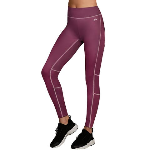 Maidenform Baselayer Active Pant - Color - Dark Mulberry Purple/Budding Pink - Size - M