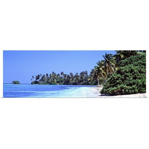 """""""Tropical trees on the beach, Maldives"""" Poster Print"""