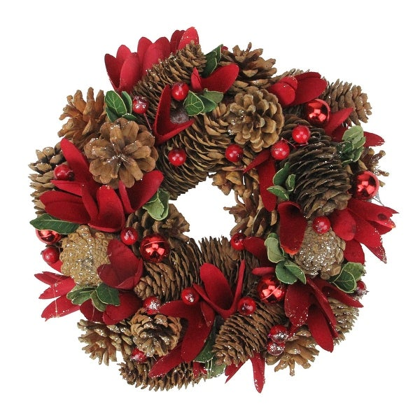 Shop 10 Quot Glittered Pine Cone Red Floral Artificial