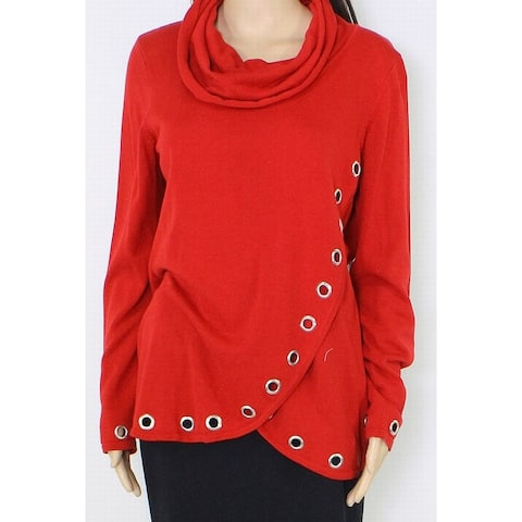 Belldini Womens Sweater Bright Red Size Large L Grommet Mock-Neck Tunic