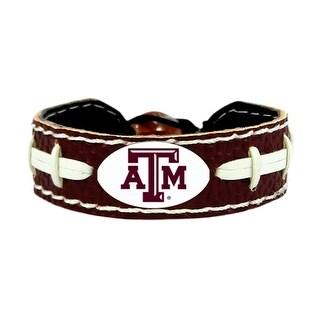 Texas A&M AggiesTeam Color NCAA Gamewear Leather Football Bracelet