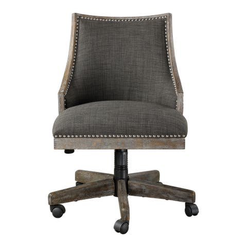 """Uttermost 23431 Aidrian 22"""" Wide Wood Frame Office Chair with Nailhead Trim by Matthew Williams - Warm Charcoal Grey"""