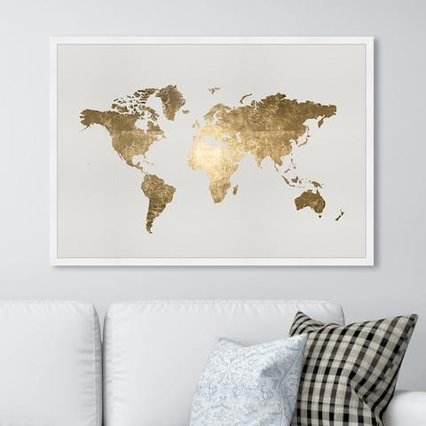 Oliver Gal 'Mapamundi Tiago Handmade' Maps and Flags Wall Art Framed Print World Maps - Gold, White