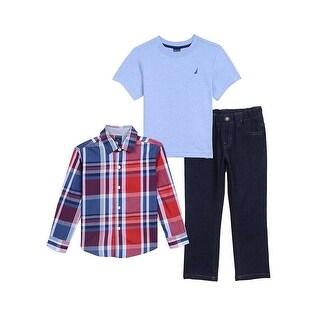 Nautica Little Boys 2T-4T 3-Piece Woven Pant Set - Red