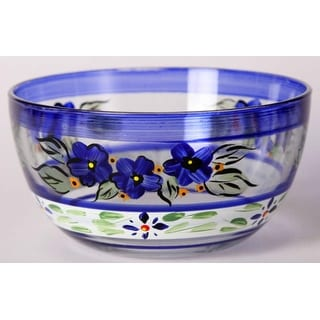 """Set of 2 Blue Floral Black and Gold Hand Painted Glass Serving Bowls 6"""""""
