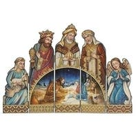 "18.75"" Joseph Studio Brown and Gold 5-Panel Folding Christmas Nativity Screen"