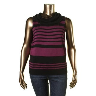 Joseph A Womens Striped Sleeveless Pullover Sweater