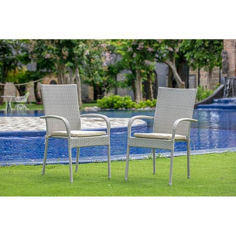 East West Furniture Patio Balcony Dining Arm Chair with Natural Wicker Set of 2 - GULC103A