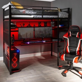 Link to X Rocker Black and Red No-light Gaming Desk/ Bunk Bed Similar Items in Home Office Furniture