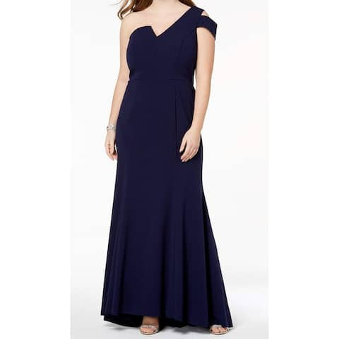 Betsy & Adam Blue Womens Size 18W Plus One Shoulder Gown Dress