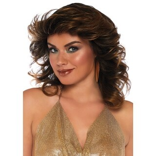 Womens Brown Farrah Feathered Costume Wig - standard - one size