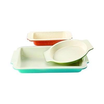 Gibson Home Imbue Color Splash 3 Piece Bakeware Set, Multicolor