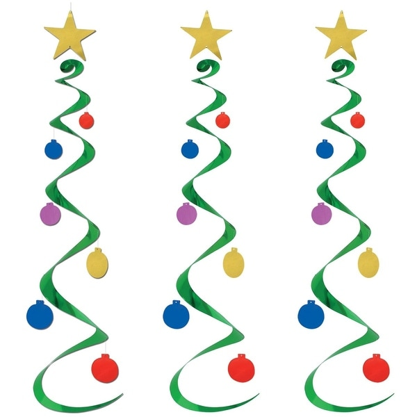 """Club Pack of 18 Winter Wonderland Themed Christmas Tree Whirl Hanging Decorations 30"""""""