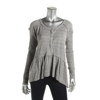 Free People Womens Henley Top Thermal Ruffled