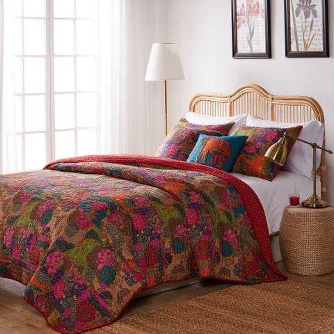 Greenland Home Jewel Oversized Reversible 5-piece Bonus Quilt Set