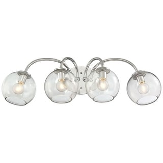 """Kovacs P1844 Exposed 4 Light 27"""" Wide Bathroom Vanity Light with Clear Glass Globe Shades"""