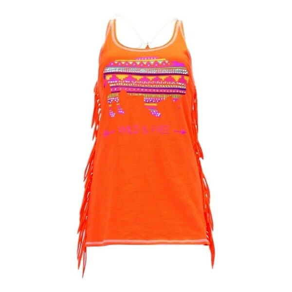 Cowgirl Tuff Western Shirt Women Fringe Buffalo Tank Top Orange