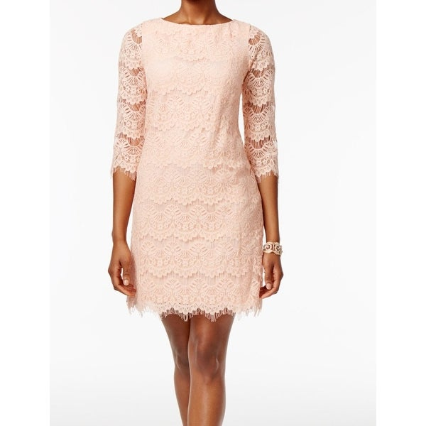 7d85474ab157 Shop Jessica Howard Pink Womens Size 10 3/4 Sleeve Lace Sheath Dress - Free  Shipping On Orders Over $45 - Overstock - 27382402