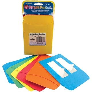 "Bright Pressure Sensitive Pockets 3.5""X5"" 30/Pkg-6 Ea/Red, Blue, Yellow, Green & Orange"