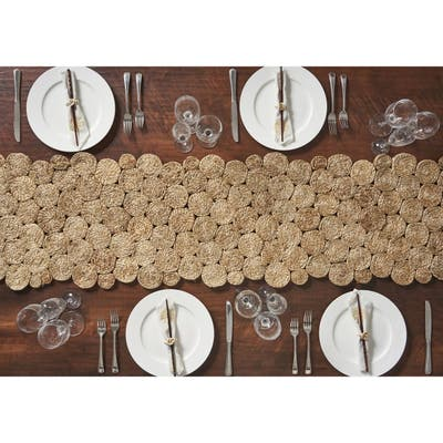 LR Home Natural Jute Concentric Circles Table Runner (1'4 x 6'8) - 1'4 x 6'8
